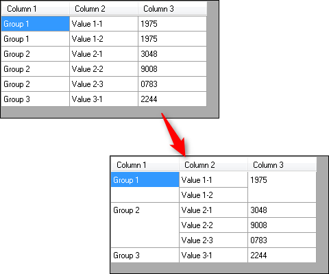 DataGridView grouping without group rows (like cell merging in MSFlexGrid)