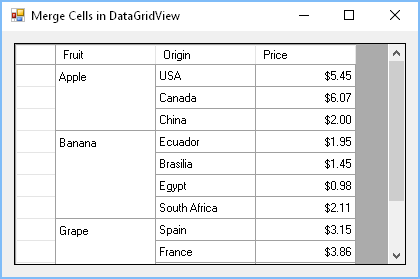 How to merge cells in DataGridView