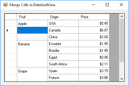 Problem with selection of merged cells in DataGridView