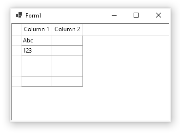 .NET Core WinForms grid control example