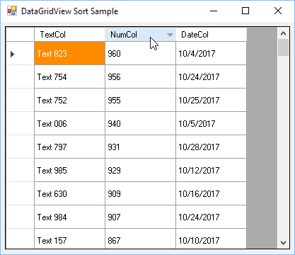Sort DataGridView column in C#