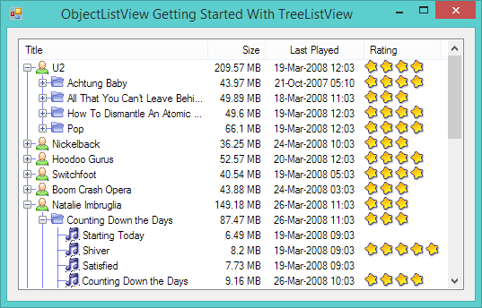 Getting started with C# TreeListView control