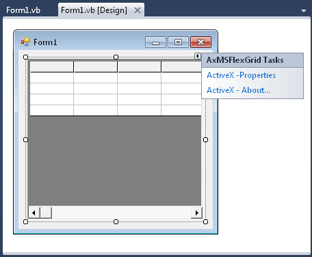 VB.NET WinForms designer with an MSFlexGrid